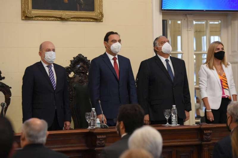 En el primer tramo de su discurso Gustavo Valdés reconoció que la Pandemia ocupó el centro de la escena