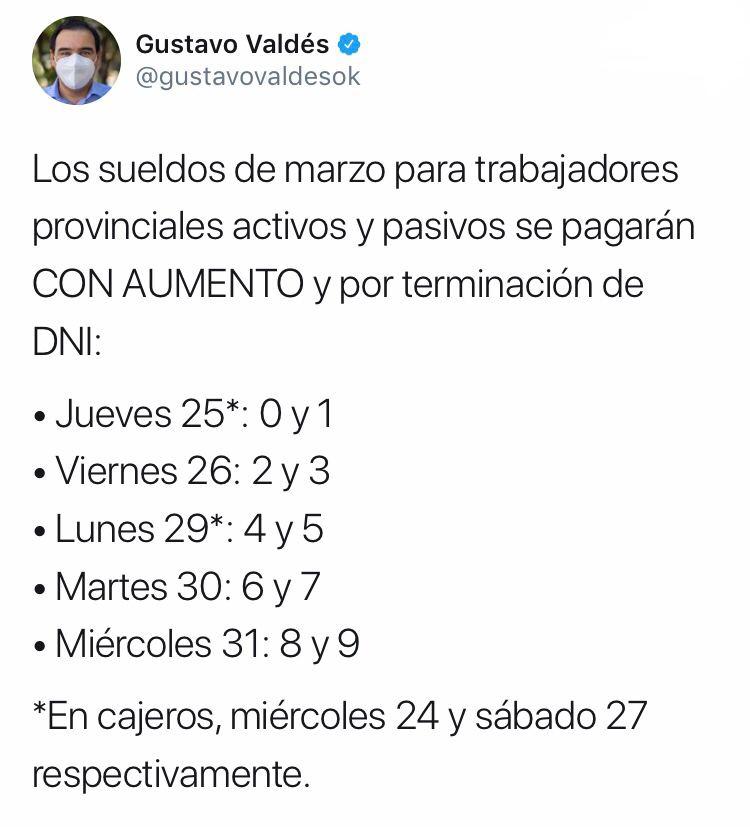 Valdés anunció el pago de salarios con aumento para trabajadores provinciales activos y pasivos