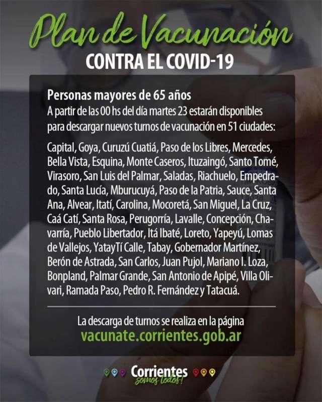 A partir de las 00 horas de mañana otorgan turnos a mayores de 65 años, en 51 ciudades correntinas