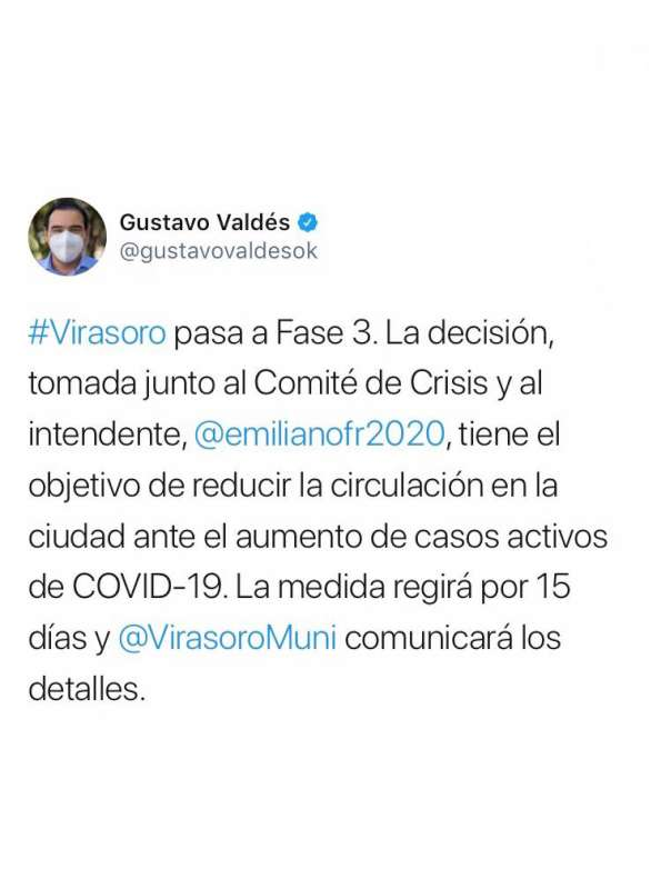 Virasoro pasa a Fase 3 ante el aumento de casos de Covid-19
