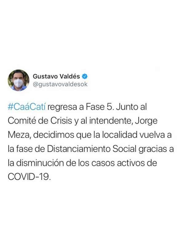 Goya continúa en Fase 3 y Caá Catí regresa a Fase 5