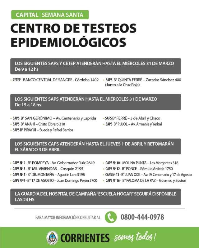 Salud Pública informa cuáles son los CETEP que funcionarán durante Semana Santa