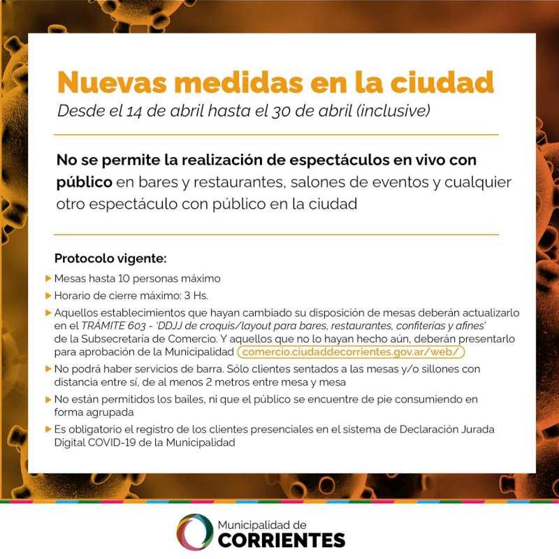 No se permitirá la realización de espectáculos en vivo con público en la ciudad de Corrientes