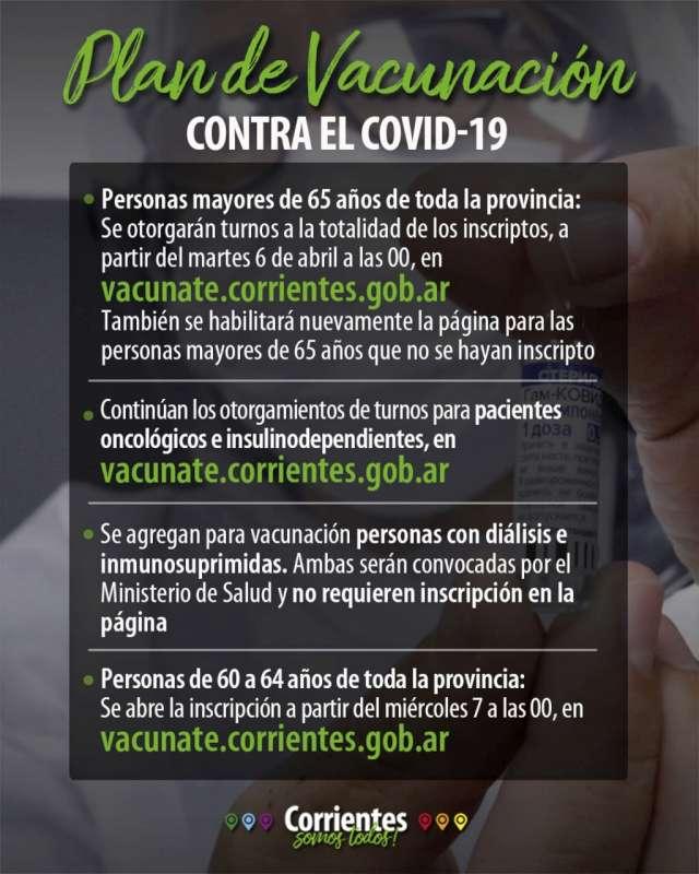Continúa el Plan Provincial de Vacunación contra el Coronavirus con nuevos grupos