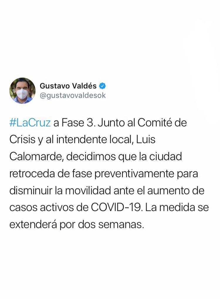 La Cruz pasa a Fase 3 ante el aumento de casos de Covid-19
