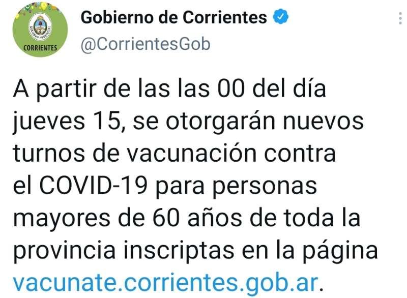 Otorgarán nuevos turnos de vacunación contra el covid-19