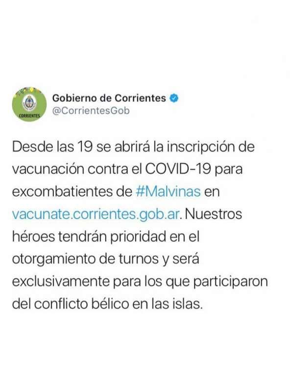 Habilitan vacunación Covid-19 para excombatientes de Malvinas