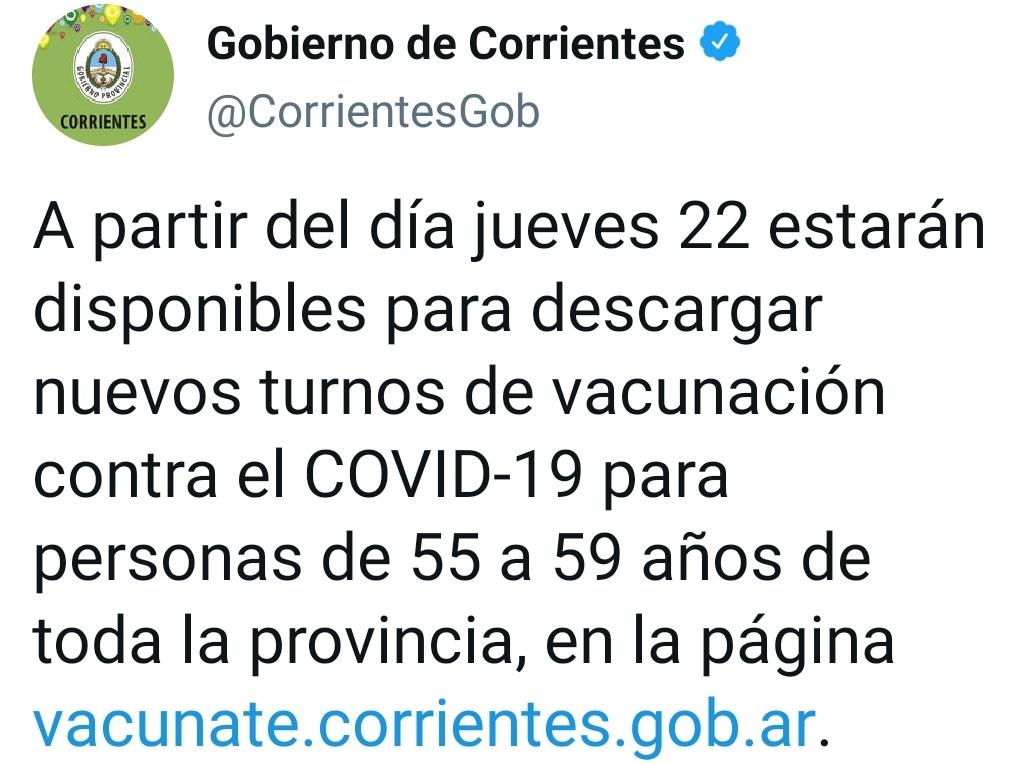 Otorgan turnos de vacunación contra Covid-19 para inscriptos de 55 a 59 años