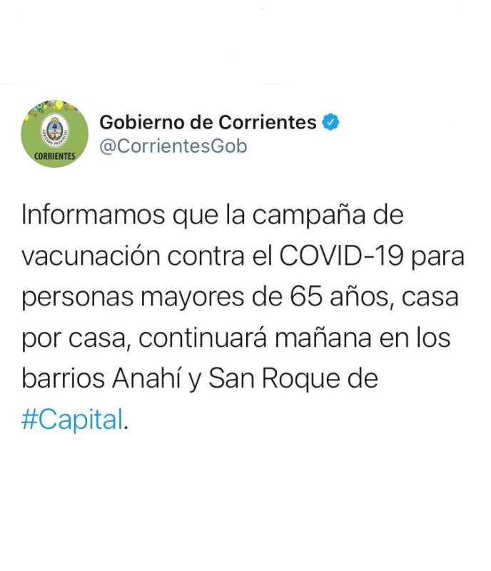Mañana continúa la vacunación en los barrios Anahí y San Roque de Capital