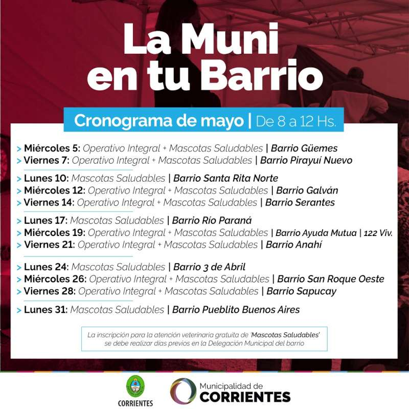 """""""La Muni en tu barrio"""" acercará múltiples servicios gratuitos a vecinos del Güemes y Pirayuí Nuevo"""