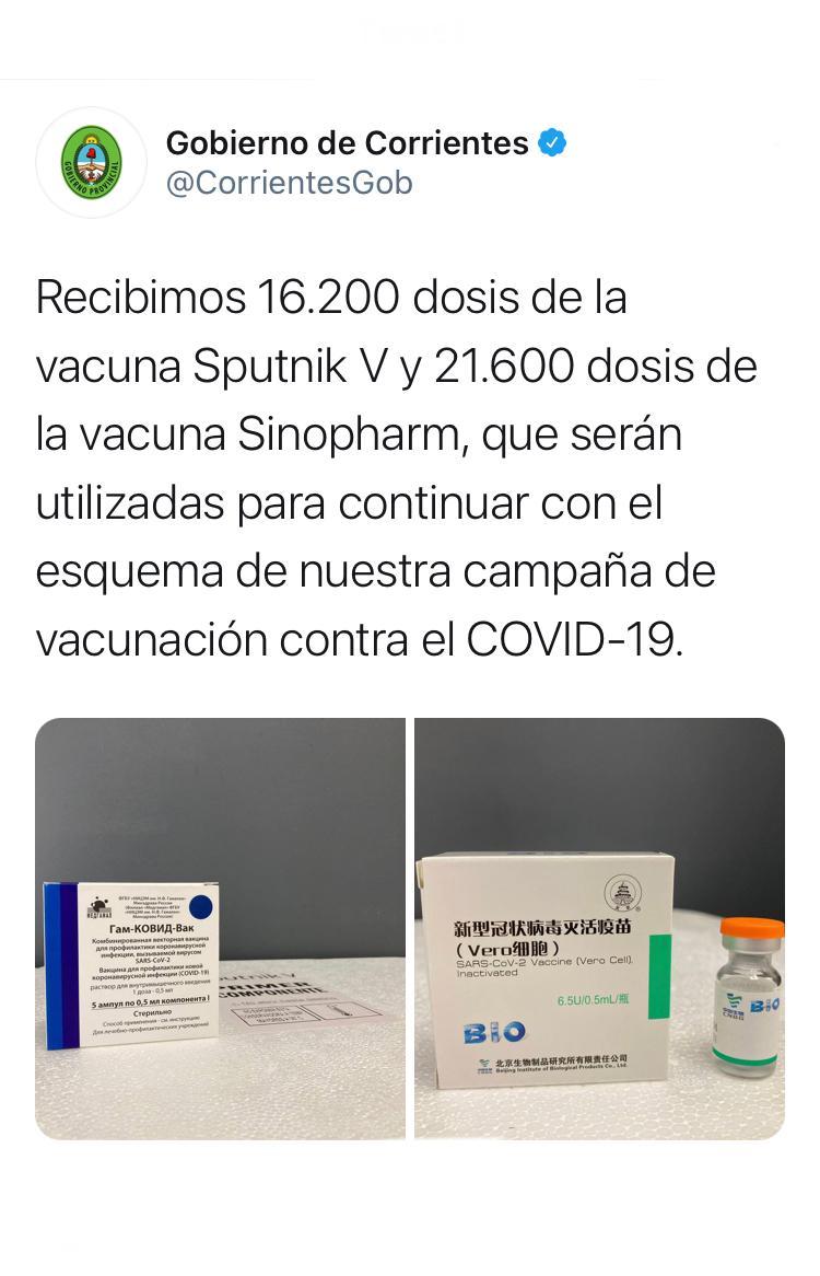 Llegaron a Corrientes 37.800 dosis de vacunas Sputnik V y Sinopharm