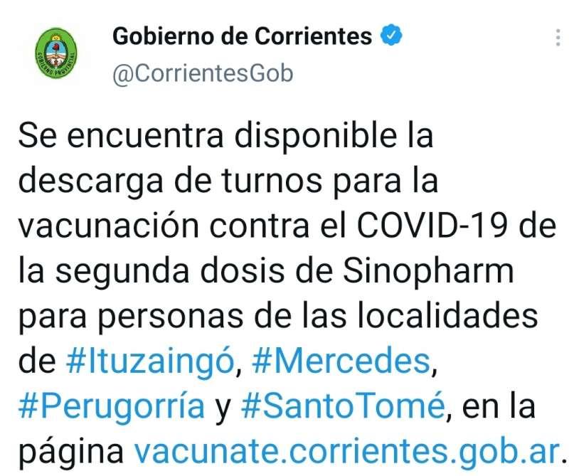 Se encuentran disponibles nuevos turnos de vacunación contra el COVID-19 para varias localidades del interior provincial