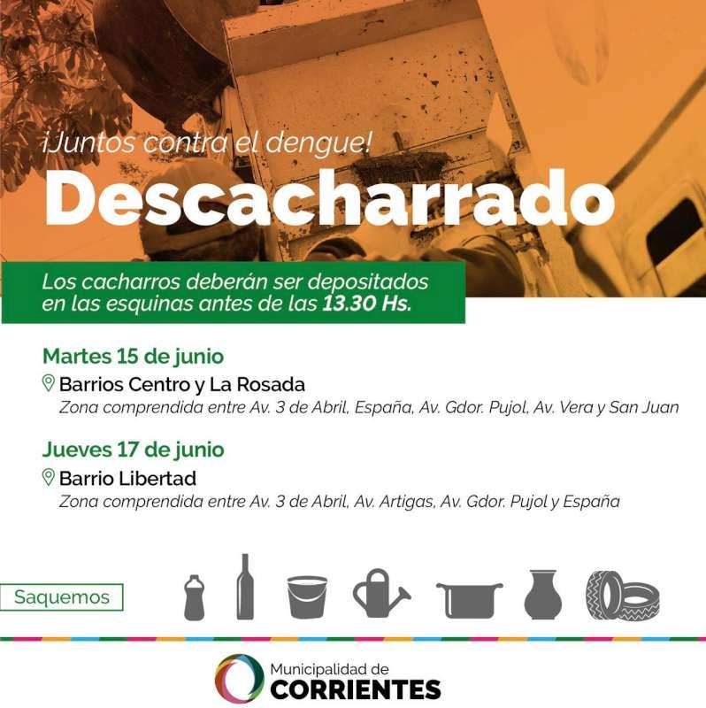 Descacharrado, habrá operativo en los barrios Centro, La Rosada y Libertad