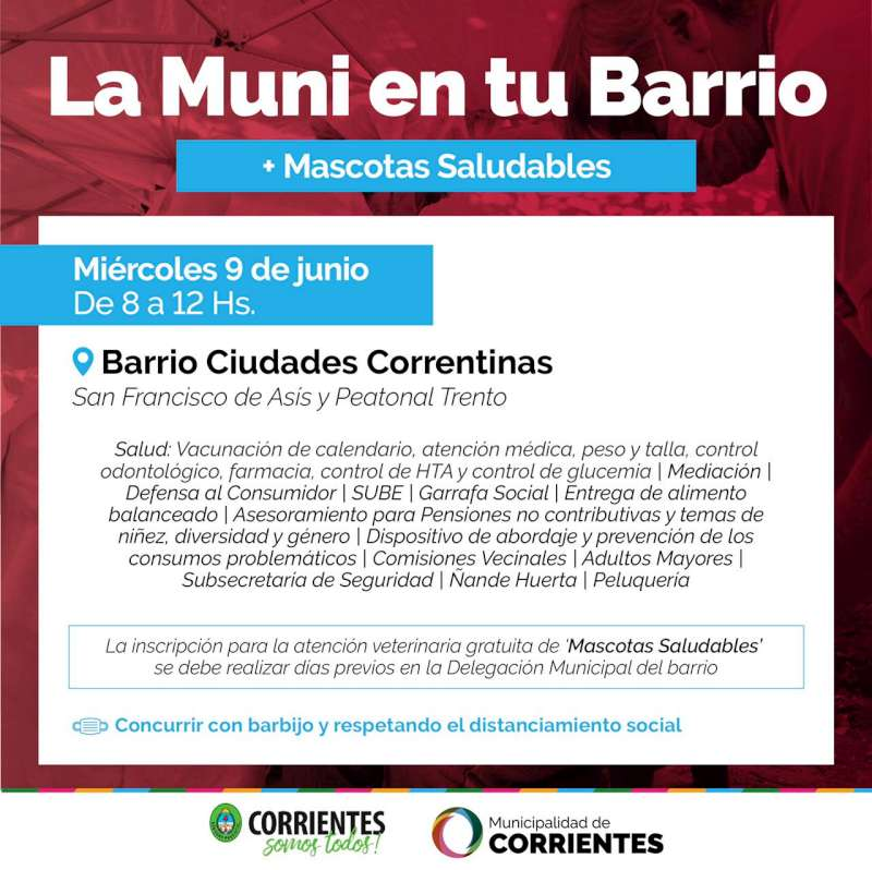 La Muni en tu barrio estará en los barrios Ciudades Correntinas y Quilmes