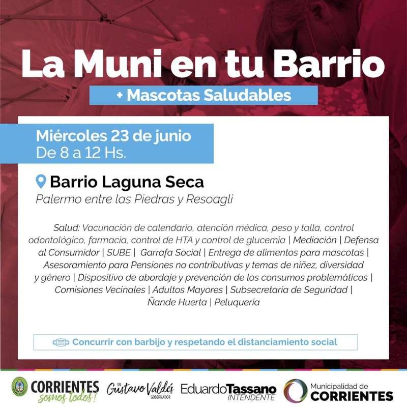 La Muni en tu Barrio estará en los barrios Laguna Seca y 17 de agosto