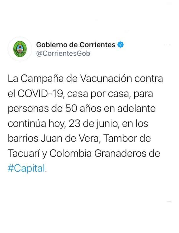 Vacunación Covid-19 casa por casa: este miércoles continúa en los barrios Juan de Vera, Tambor de Tacuarí y Colombia Granaderos