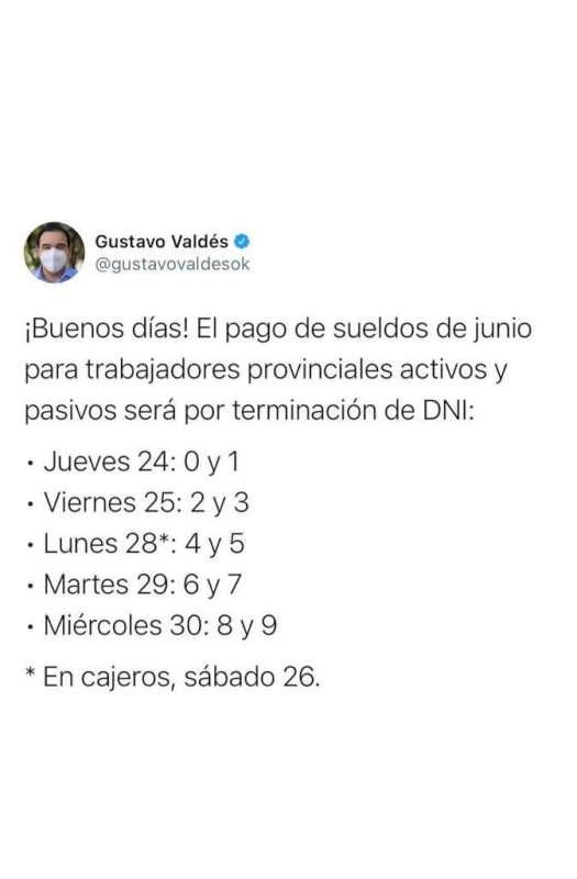 Con aumento en la Asignación Familiar por Hijo, el gobernador Valdés confirmó cronograma de haberes de junio