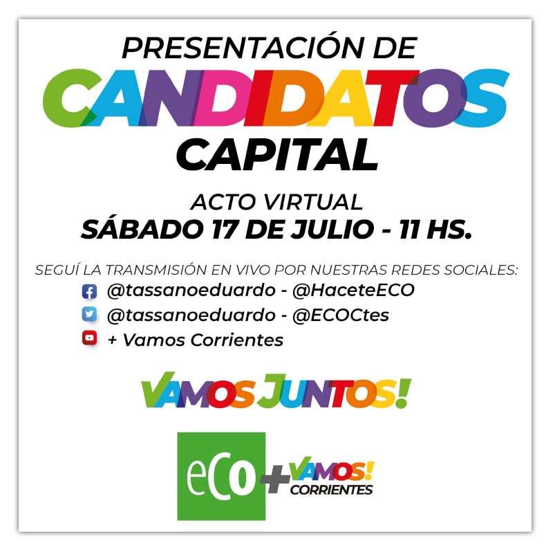Valdés y Tassano presentan a los candidatos a concejales de ECO + Vamos Corrientes en Capital