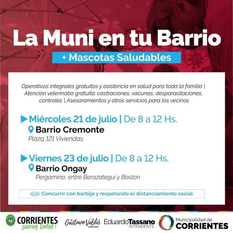 La Muni en tu Barrio brindará prestaciones gratuitas en el Cremonte y en el Ongay