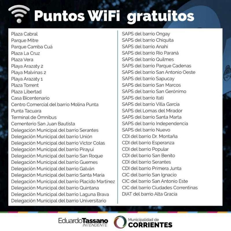 La Municipalidad ya habilitó más de 50 puntos wifi de acceso libre y gratuito en la ciudad