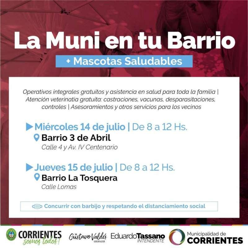 El operativo de la Muni en tu Barrio visitará los barrios 3 de Abril y La Tosquera
