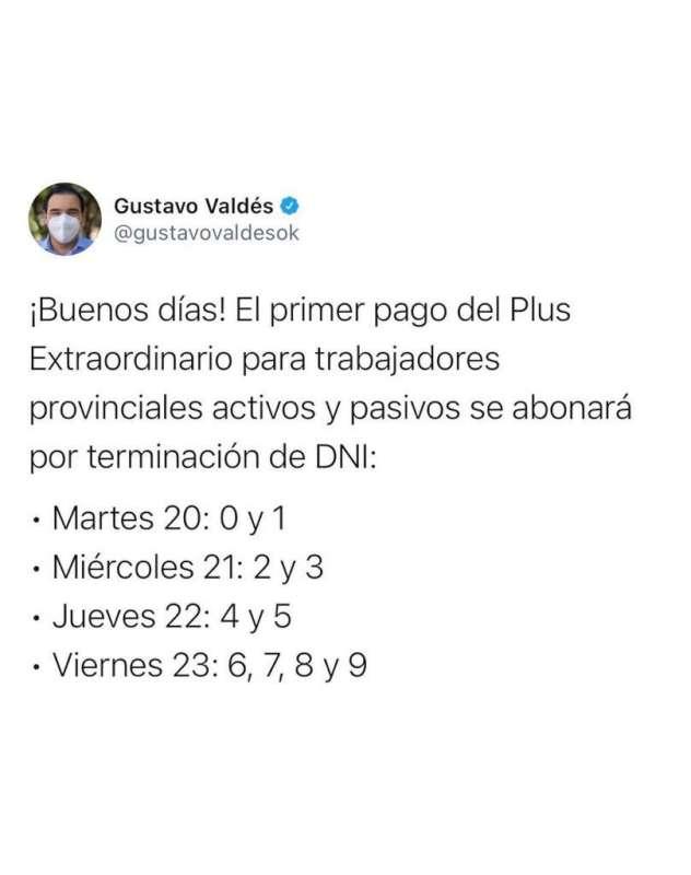 Valdés anunció el primer pago del Plus Extraordinario