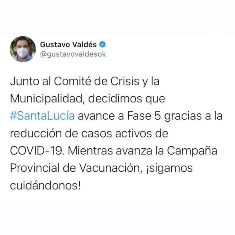 El Gobernador anunció que Santa Lucía pasa a Fase 5