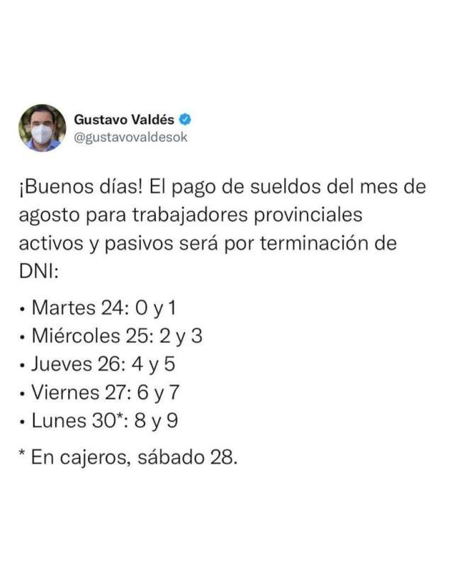 Gobernador Valdés confirma pago de agosto y Provincia acumula inversión de $7.500 millones este mes