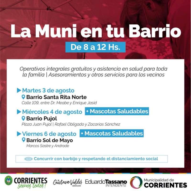 La Muni en tu Barrio, las prestaciones gratuitas llegarán al Pujol, Santa Rita y Sol de Mayo