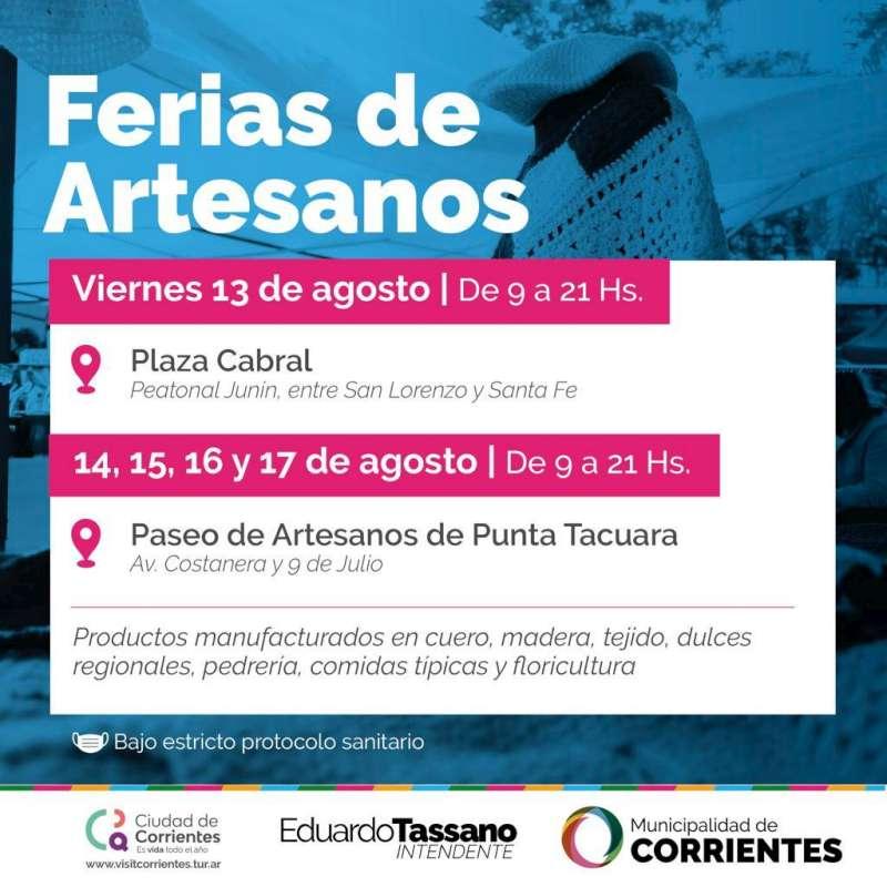Los artesanos ofrecerán sus productos durante todo el fin de semana en Plaza Cabral y en Punta Tacuara