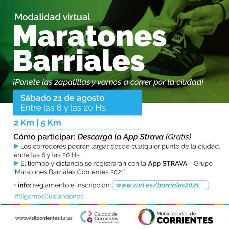 Las maratones barriales se realizarán este sábado en formato virtual