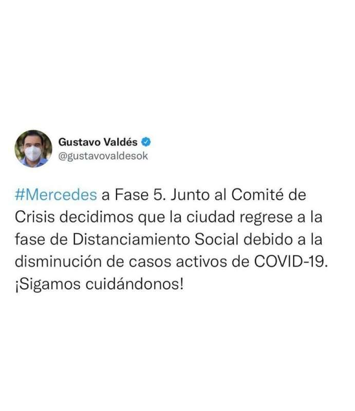 Valdés comunicó que Mercedes regresa a Fase 5