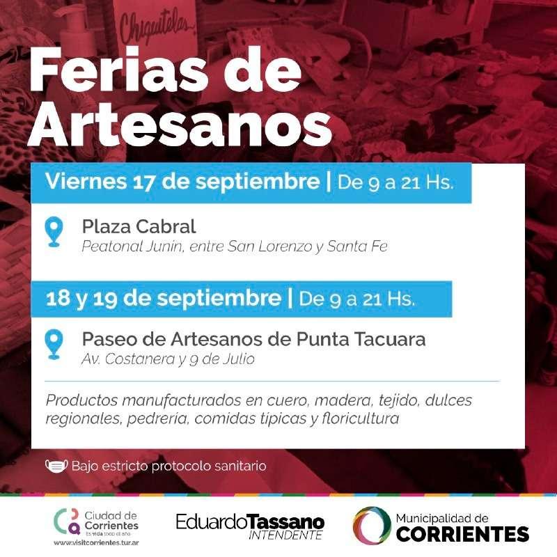 Los artesanos expondrán sus productos en plaza Cabral y en Punta Tacuara