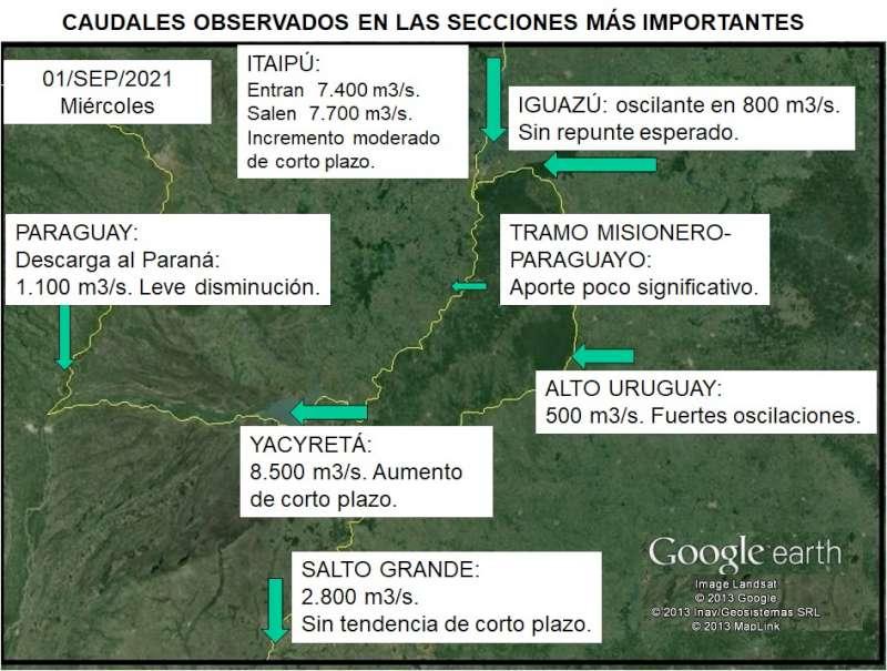 Datos semanales situación de los ríos Paraná y Uruguay