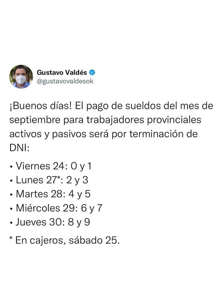 Valdés confirma cronograma de sueldos de septiembre y Provincia vuelca $ 5 mil millones