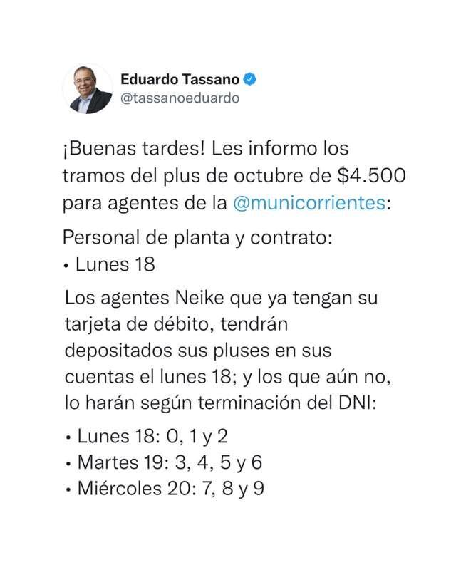 Tassano anunció que el plus a municipales se pagará desde este lunes 18